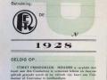 RET 1928 herkenningskaart vrij vervoer Politie -a