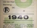 RET 1940 herkenningskaart politie (K17) -a