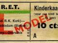 RET 1951 kinderkaartje Schiedam-Overschie 10 cts (623) -a