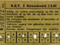 RET 1954 5-rittenkaart 0,65 (51A) -a