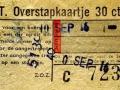 RET 1957 overstapkaartje 30 cts (122H) -a
