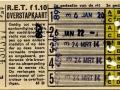 RET 1958 5-ritten overstapkaart 1,10 (61D) -a