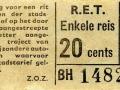 RET 1958 enkele reis 20 cts (101H) -a