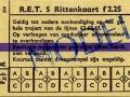 RET 1961 5-rittenkaart 2,25 lijnen 62-65 (258) -a
