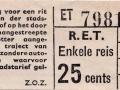 RET 1961 enkele reis stadslijn of buitentraject 25 cents (201B) -a