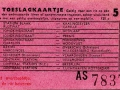 RET 1961 toeslagkaartje 5 cts (125C) -a