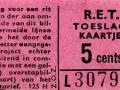 RET 1961 toeslagkaartje 5 cts (125H) -a