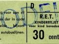 RET 1965 kinderkaartje bijzondere autobuslijnen 30 cents (311) -a