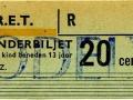 RET 1965 kinderkaartje stadslijn of buitentraject 20 cents (309) -a