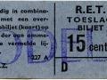 RET 1965 toeslagbiljet 15 cts (227A) -a