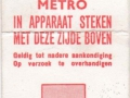 RET 1970 metro 4-rittenkaart 1,25 (707) -a