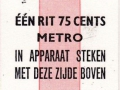 RET 1971 metro 1 ritkaart 0,75 cents (16) -a