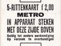 RET 1971 metro 5-rittenkaart 2,00 (12) -a