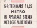 RET 1968 metro 5- rittenkaart 1,25 (706-2) -a