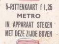 RET 1968 metro 5-rittenkaart 1,25 (706) -a
