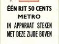 RET 1968 metro een rit 50 cents (701) -a
