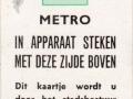 RET 1968 metro gratis kaartje -a
