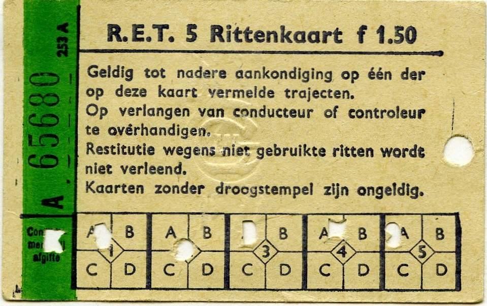 RET 1967 5-rittenkaart 1,50 (253A) -a