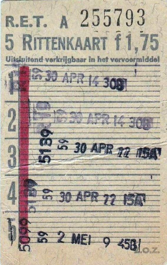 RET 1967 5 rittenkaart 1,75 (2A) -a