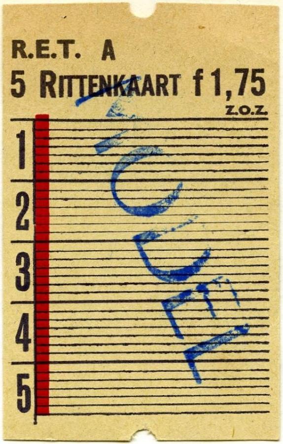 RET 1967 5-rittenkaart 1,75 -a