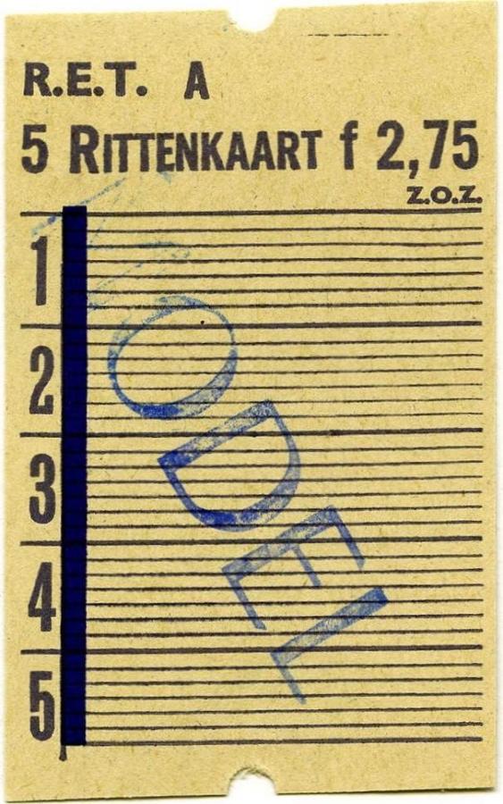RET 1967 5-rittenkaart 2,75 -a