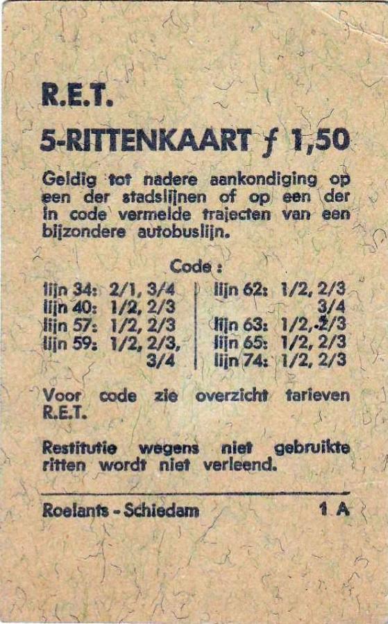 RET 1967 5 rittenkaart 3 achterzijde 1,50 (1A) -a