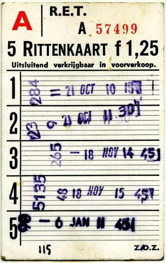 RET 1967 5-rittenkaart A voorverkoop 1,25 -a
