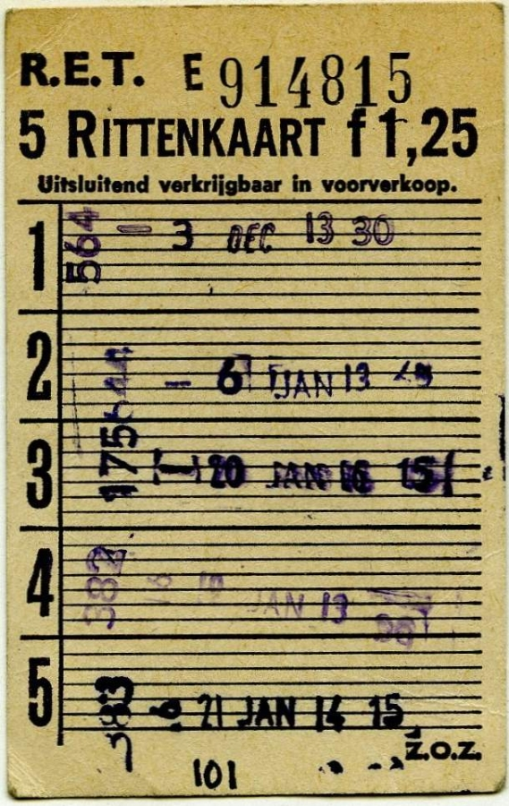 RET 1967 5-rittenkaart voorverkoop 1,25 -a
