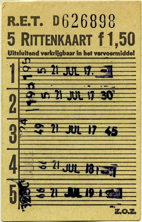 RET 1967 5-rittenkaart wagenverkoop 1,50 -a