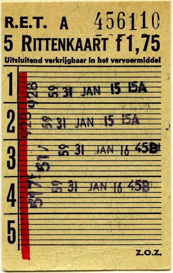 RET 1967 5-rittenkaart wagenverkoop 1,75 -a