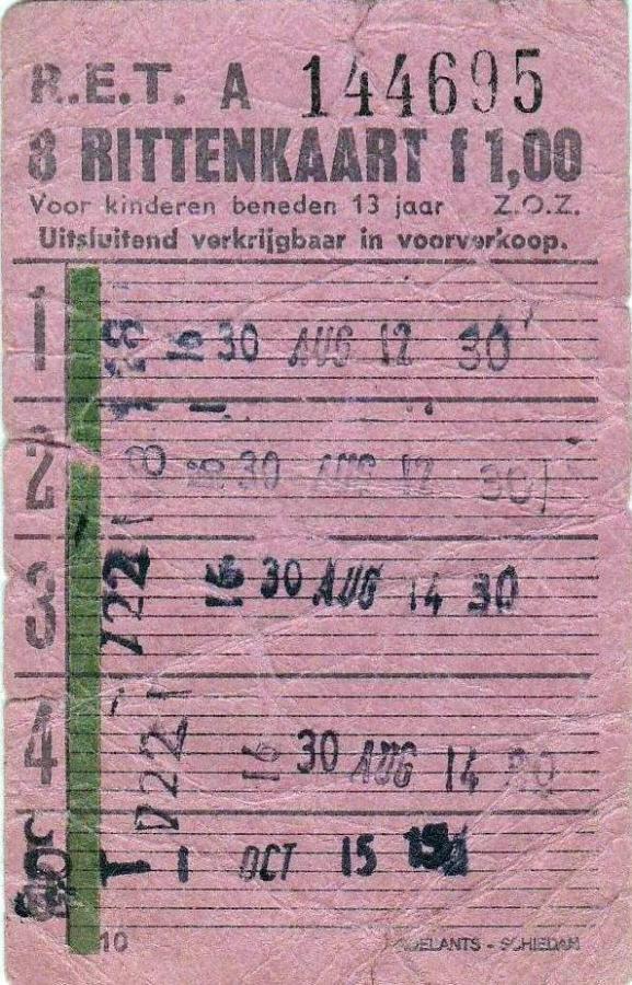 RET 1967 8 ritten kinderkaart 1,00 (10) -a
