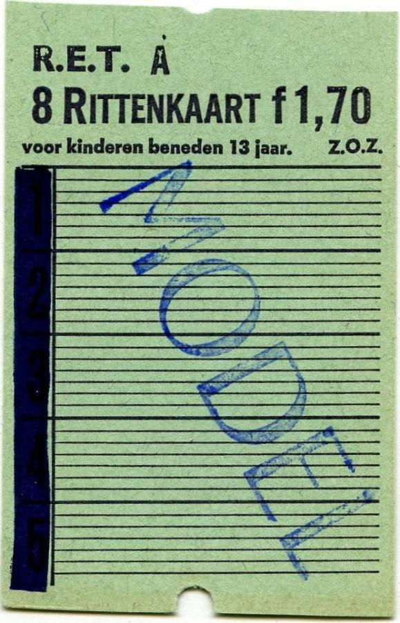RET 1967 8-ritten kinderkaart 1,70 -a