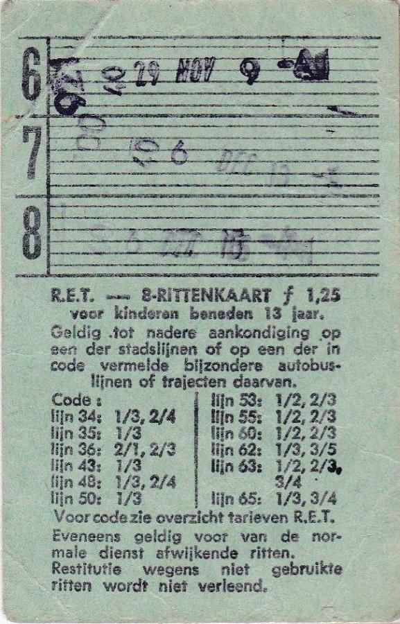 RET 1967 8 rittenkaart kind 1,25 achterzijde (10A) -a