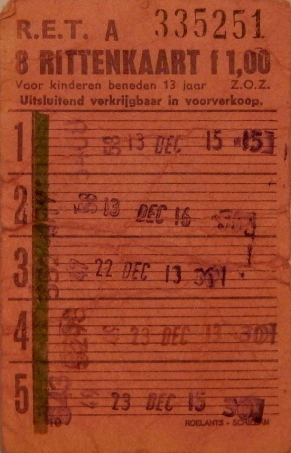 RET 1967 8-rittenkaart kinderen 1,00 (10) -a