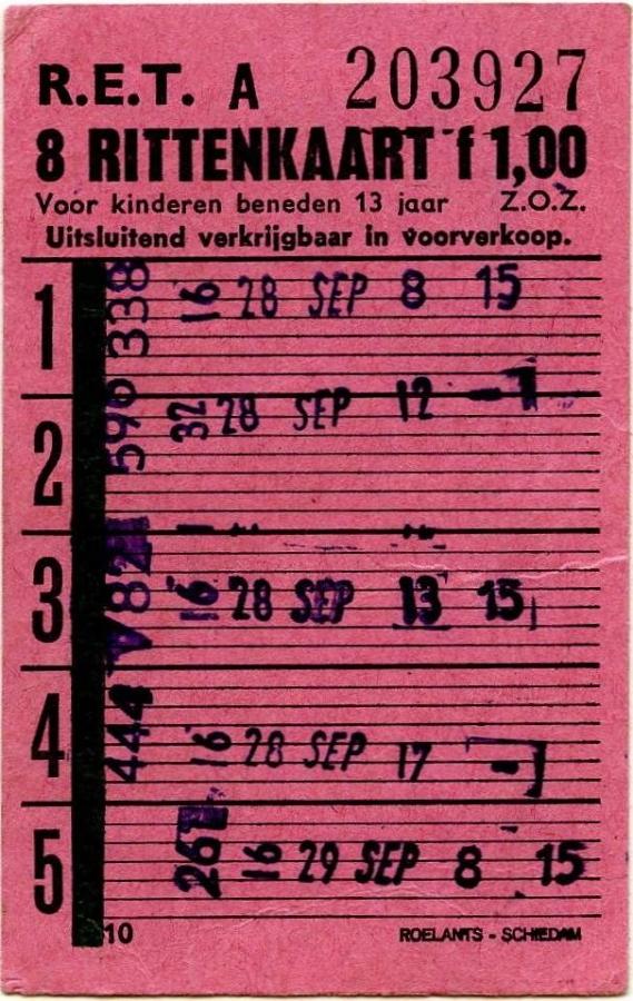 RET 1967 8-rittenkaart kinderen voorverkoop 1,00 (10) -a