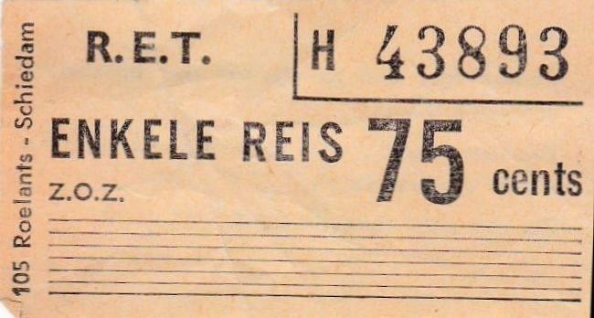 RET 1967 enkele reis RET-streekvervoer 75 cents (105) -a