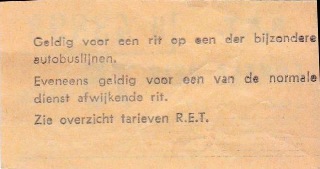 RET 1967 enkele reis bijzondere autobuslijn 95 cents achterzijde (46) -a