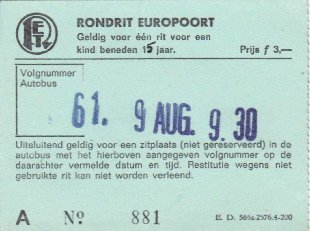 RET 1967 kinderkaartje rondrit Europoort 3,-- (ED566) -a