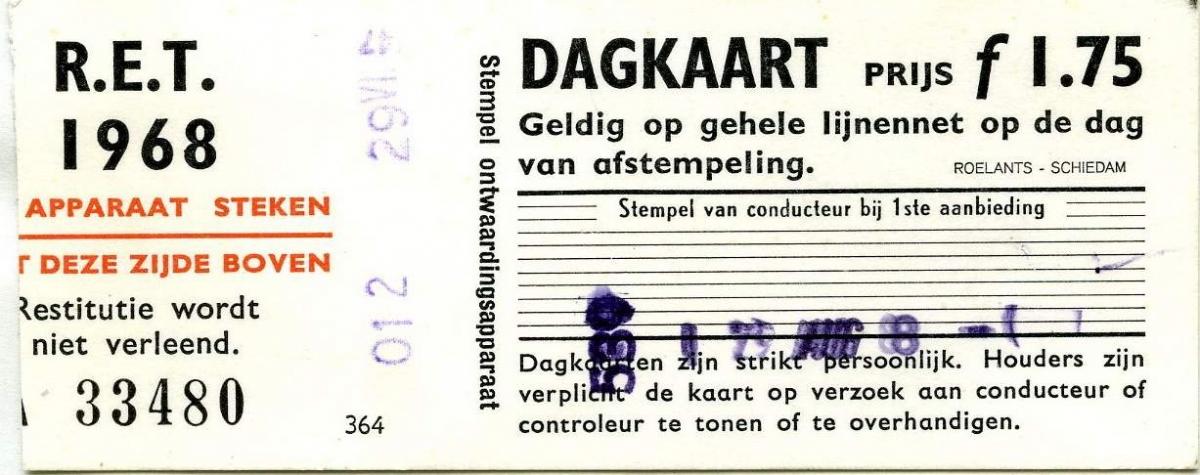 RET 1968 dagkaart gehele lijnennet 1,75 (364) -a