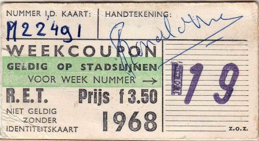 RET 1968 weekcoupon stadslijnen 3,50 (181 WS223153) -a