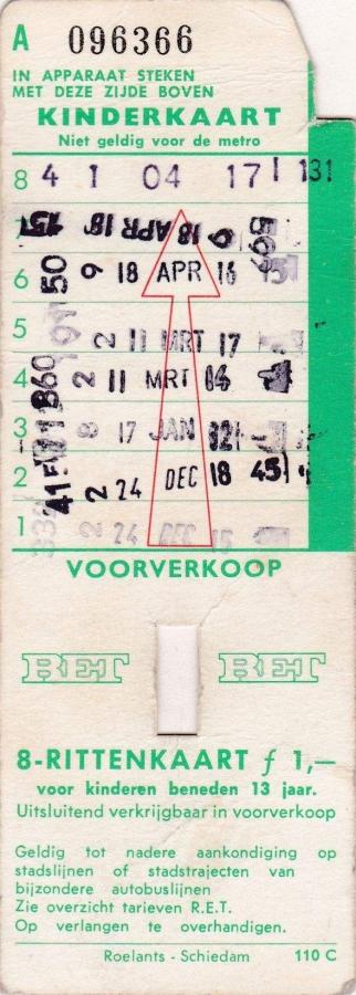 RET 1969 8 kinderrittenkaart voorverkoop 1,00 (110C) -a