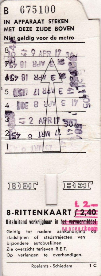 RET 1969 8 rittenkaart 2,40 (1C) -a