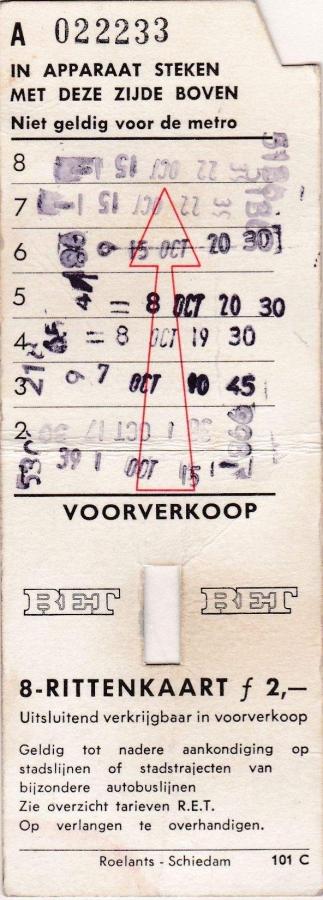 RET 1969 8 rittenkaart voorverkoop 2,00 (101C) -a