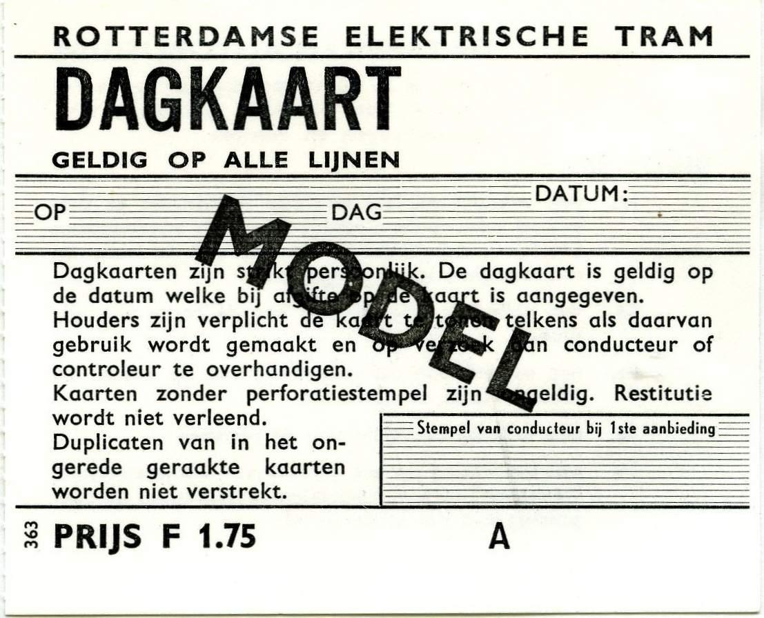 RET 1969 dagkaart gehele lijnennet 1,75 (363) -a