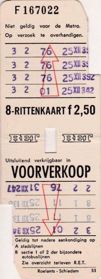 RET 1970 8 rittenkaart voorverkoop 2,50 (53) -a