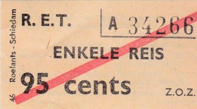 RET 1970 enkele reis bijzondere autobuslijn 95 cents (46) -a