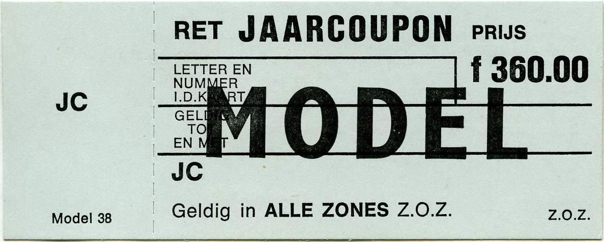 RET 1970 jaarcoupon alle zones 360,00 (38) -a