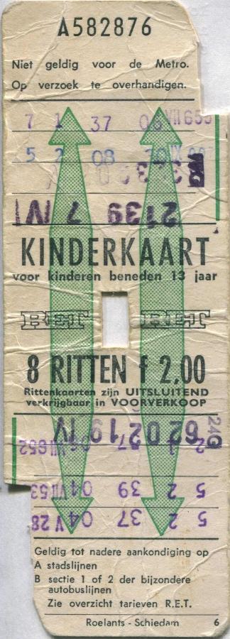 RET 1971 8-ritten kinderkaart 2,00 (6) -a
