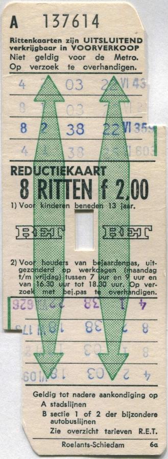 RET 1971 8-ritten reductiekaart 2,00 (6A) -a