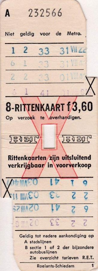 RET 1971 8 rittenkaart 3,60 (1) -a